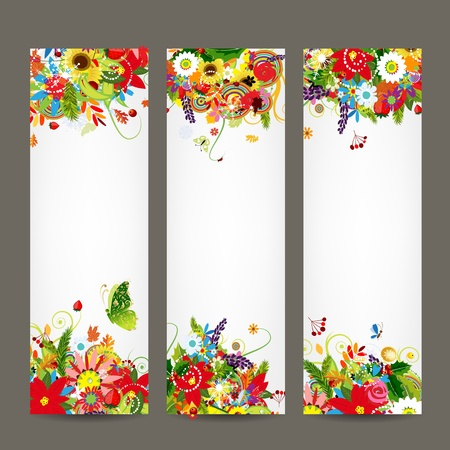 artwork: Floral style banners for your design Illustration