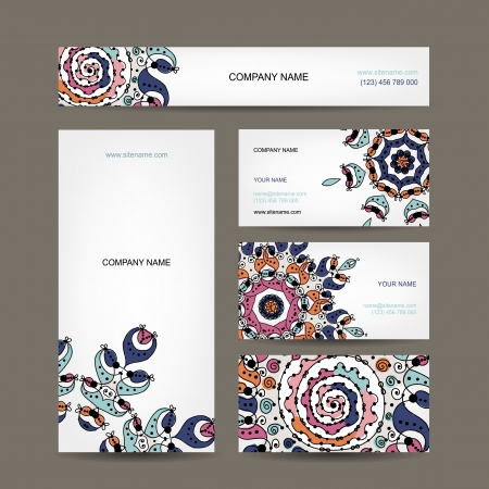 Business cards collection, floral design Vector