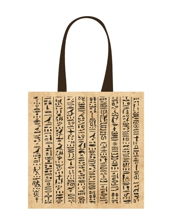 the arts is ancient: Paper shopping bag with egypt hieroglyphs for your design