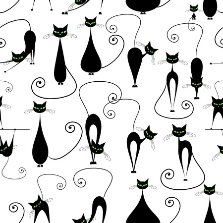 animal: Black cats, seamless pattern for your design