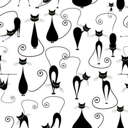 zeichnung: Schwarze Katzen, nahtlose Muster für Ihr Design