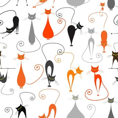 猫は、あなたのデザインのためのシームレスなパターン  イラスト・ベクター素材