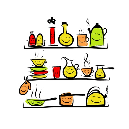 Kitchen utensils characters on shelves, sketch drawing for your design Vector