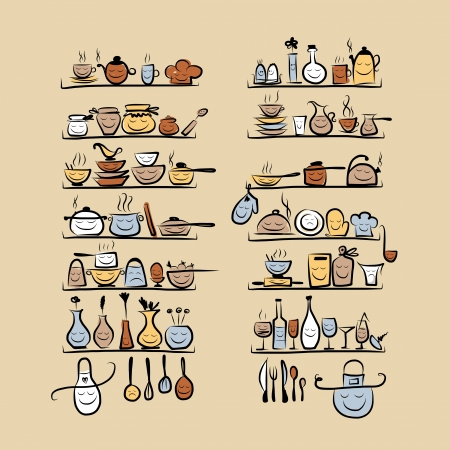 kitchen illustration: Kitchen utensils characters on shelves, sketch drawing for your design