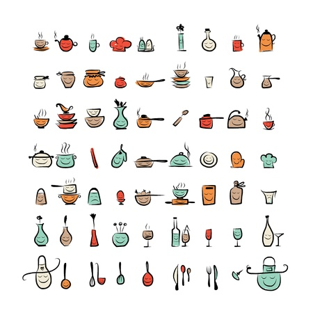 Kitchen utensils characters, sketch drawing icons for your design Vector