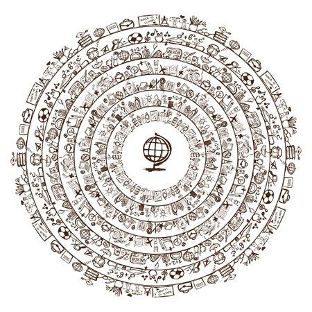 arbol de la sabiduria: Volver a la escuela, marco del c�rculo para su dise�o