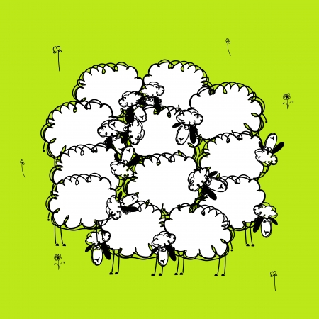black sheep: Funny sheeps on meadow, sketch for your design