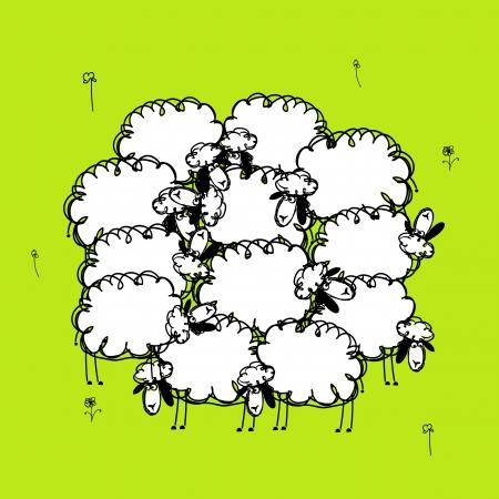 oveja negra: Sheeps divertidos en prado, bosquejo para su dise?o