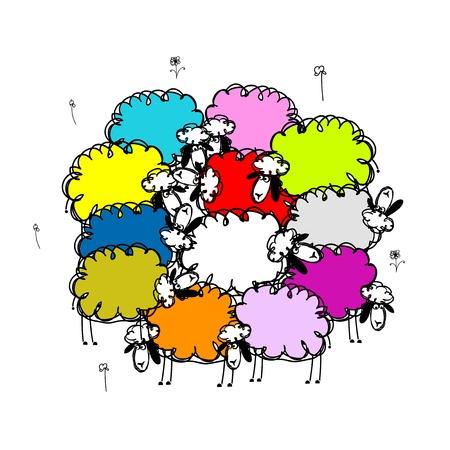 flock of sheep: Flock of colored sheeps, sketch for your design Illustration