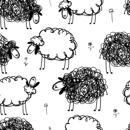 ewe: Black and white sheeps on meadow, seamless pattern for your design