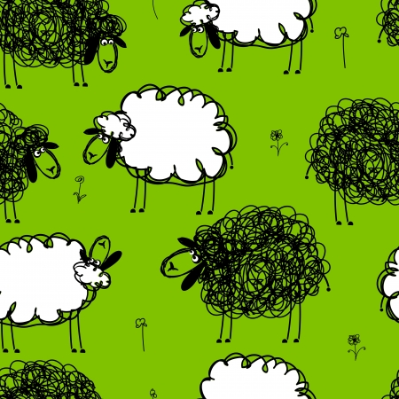 Funny sheeps on meadow, seamless pattern for your design