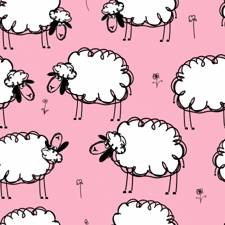 flock of sheep: Funny sheeps on meadow, seamless pattern for your design