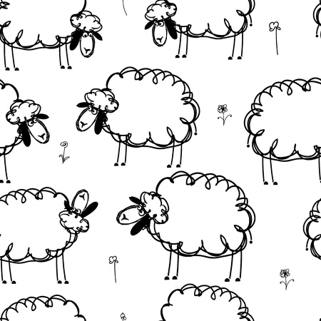 mutton: Funny sheeps on meadow, seamless pattern for your design
