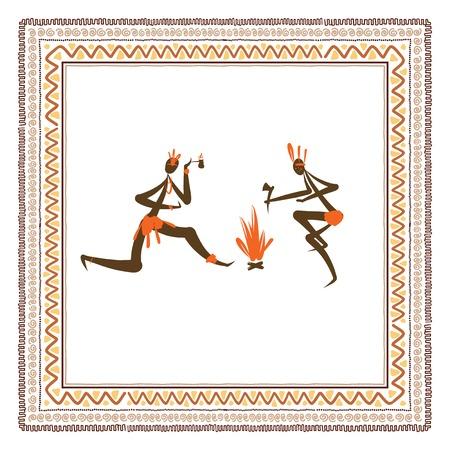 peinture rupestre: Populations tribales antiques cadre d'ornement ethnique pour votre conception