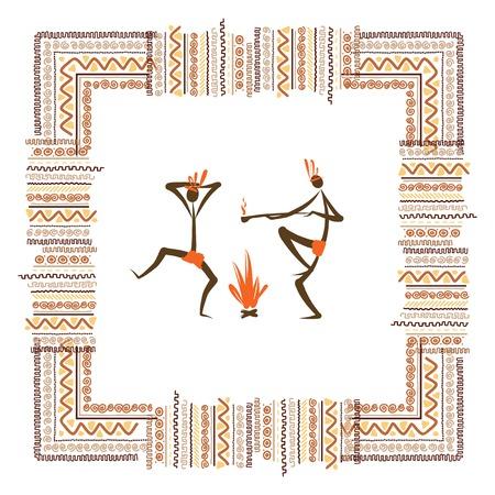 pintura rupestre: Las tribus antiguas, marco ornamento �tnico para su dise�o