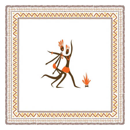 bonfire: Ancient tribal people, ethnic ornament frame for your design Illustration