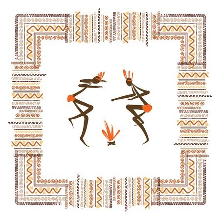 caveman: Ancient tribal people, ethnic ornament frame for your design Illustration