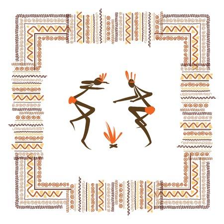 ilustraciones africanas: Las tribus antiguas, marco ornamento �tnico para su dise�o