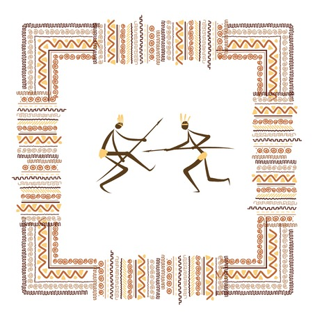 aborigines: Ancient tribal people, ethnic ornament frame for your design Illustration