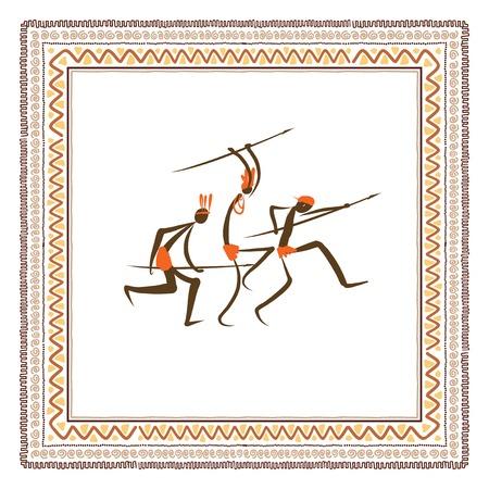 古代の部族の人々、民族の飾り枠