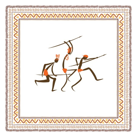 cave: Ancient tribal people, ethnic ornament frame  Illustration