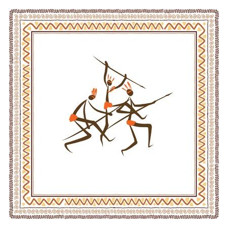 peinture rupestre: Populations tribales antiques cadre d'ornement ethnique Illustration