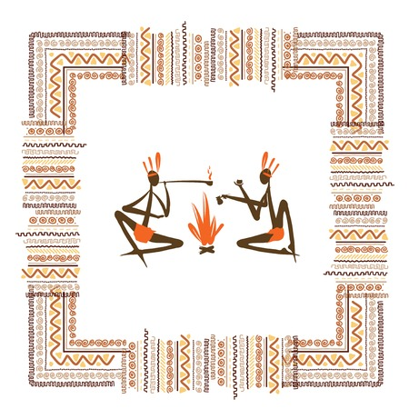 aborigines: Ancient tribal people, ethnic ornament frame  Illustration