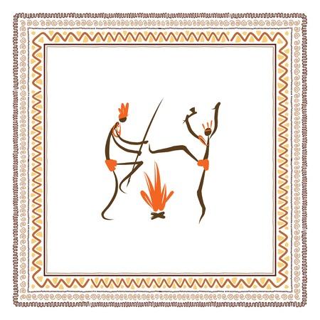 aborigines: Ancient tribal people, ethnic ornament frame
