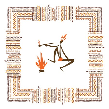 medieval woman: Ancient tribal people, ethnic ornament frame  Illustration