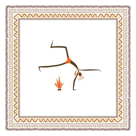 古代の部族の人々、民族の飾りフレーム  イラスト・ベクター素材
