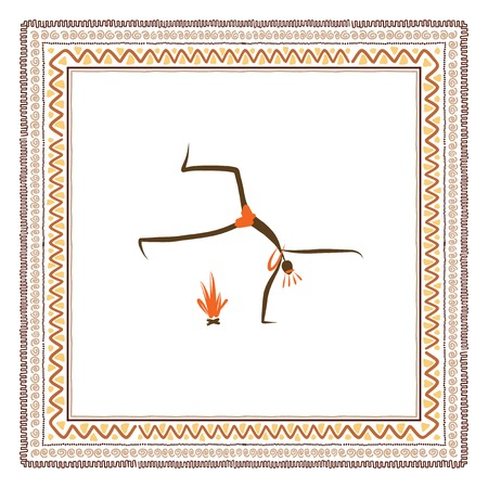 고대 부족의 사람들, 민족 장식 프레임 일러스트
