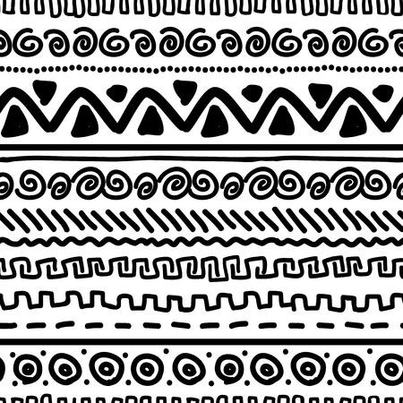 Handmade pattern with ethnic geometric ornament   Vector