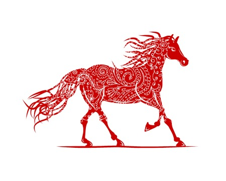 Red horse with floral ornament for your design. Symbol of 2014 year Vector