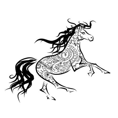 Horse sketch for your design. Symbol of 2014 year Vector