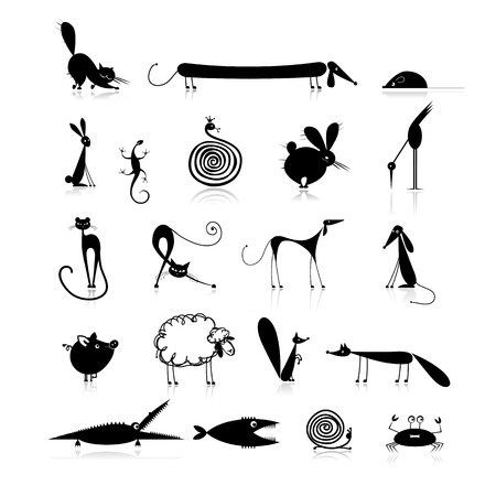 cartoon sheep: Set of 20 animals, black silhouette for your design