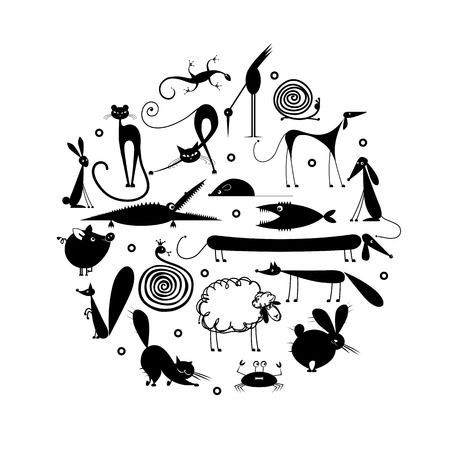 cat fish: Set of 20 animals, black silhouette for your design