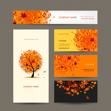 Business cards collection with autumn tree design Illustration