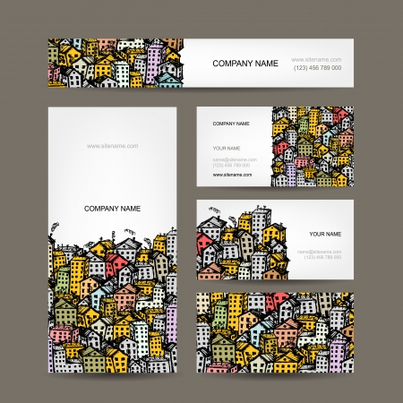 Business cards design, cityscape sketch Vector