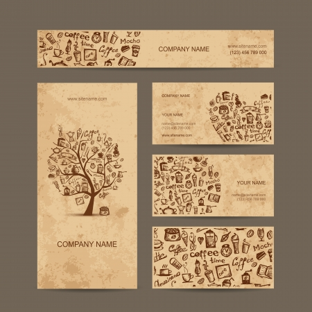 granos de cafe: Tarjetas de visita de recogida con el concepto de diseño del café