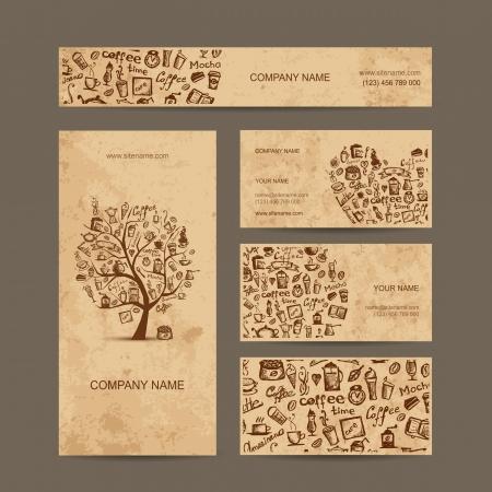 koffiebaal: Visitekaartjes collectie met koffie conceptontwerp Stock Illustratie