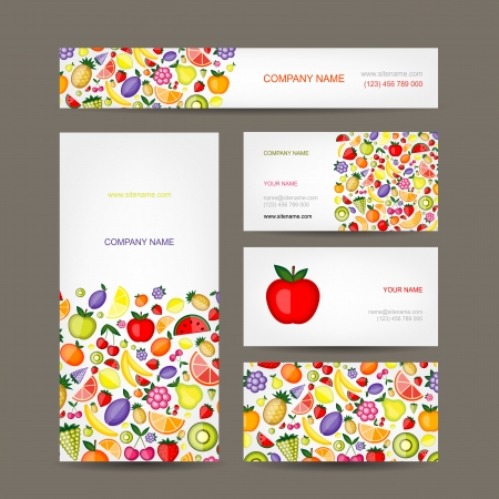 Business cards design, fruit background Vector