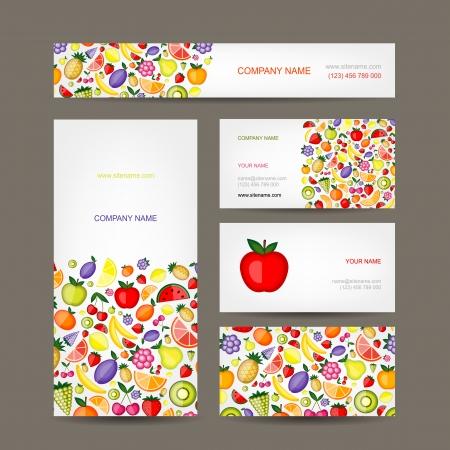 lemon tree: Business cards design, fruit background Illustration