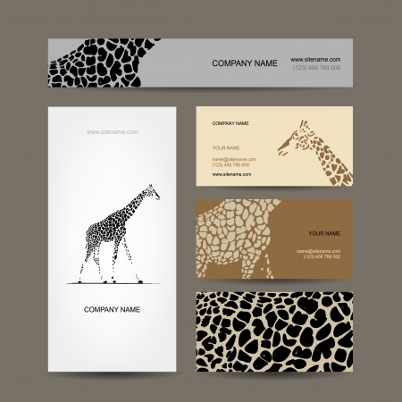 Business cards collection, giraffe pattern Vector