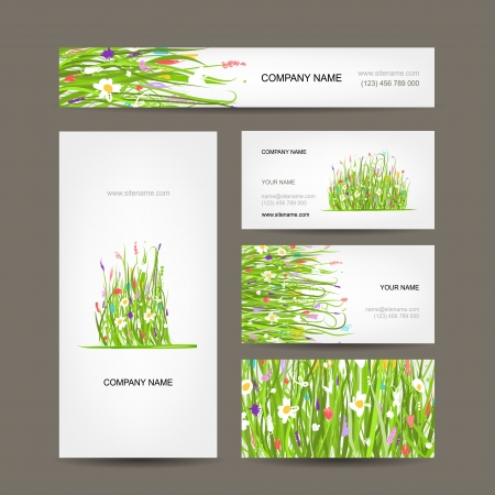 Business cards collection, green meadow design Vector