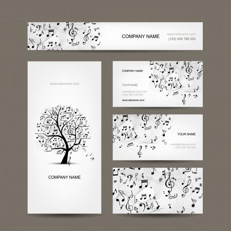 音楽のデザインとビジネス カード コレクション