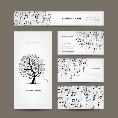 Business cards collection with music design Vector