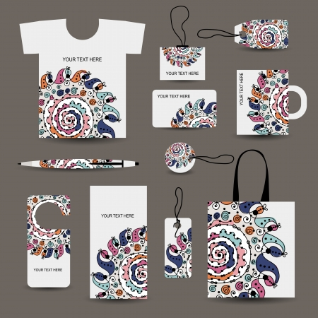 Corporate business style design: tshirt, labels, mug, bag, cards Stock Vector - 22697473