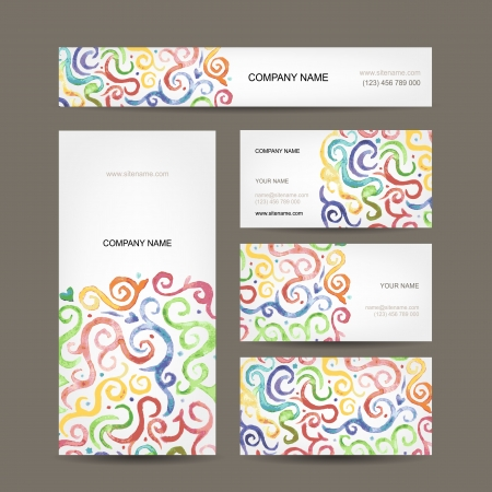 Business cards collection with watercolor waves design Stock Vector - 22697479