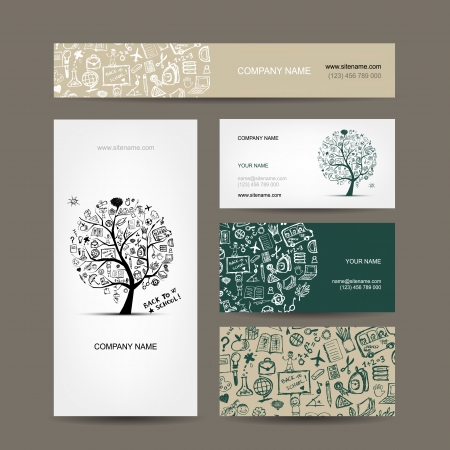business card layout: Business cards collection with school sketch for your design Illustration