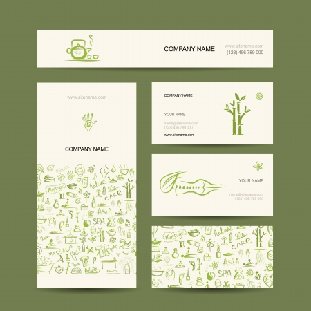 Business cards design, massage and spa concept Vector
